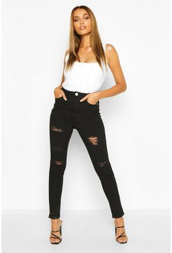 High-Rise Skinny Jeans in extremer Destroyed-Optik mit hoher Taille, Schwarz, Damen