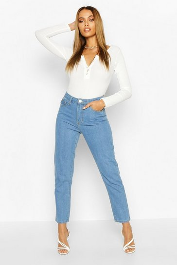 Womens Light Blue Straight Leg Jean