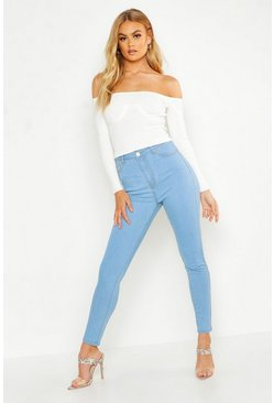 Jean skinny taille haute, Bleu clair, Femme