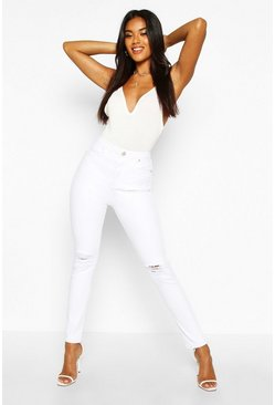 Womens White High rise Distressed Skinny Jeans