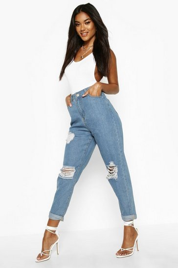 Womens Light blue Mid Rise Super Distressed Boyfriend Jeans