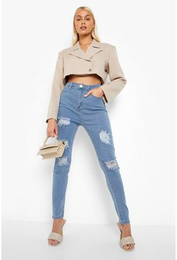 Womens Light blue High rise Super distressed Skinny Jeans