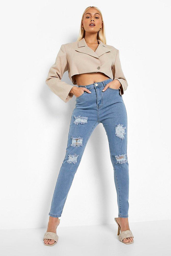 vita jeans hög midja