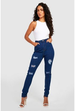 Mid blue High Rise Super distressed Skinny Jean