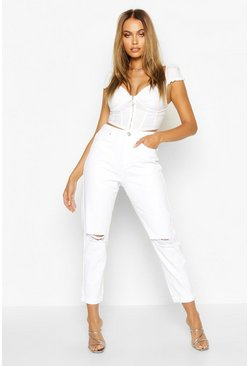 Womens White Mid Rise Distressed Boyfriend Jean
