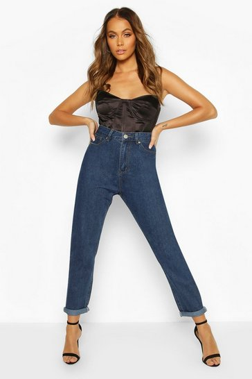 Womens Mid blue High Rise Boyfriend Jean