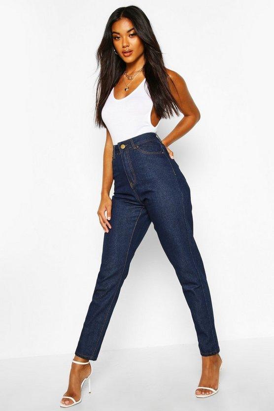 Womens Dark blue High Rise Mom Jean