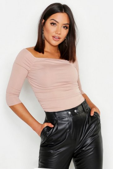 Womens Taupe Rib Ruched Front Short Sleeve Crop