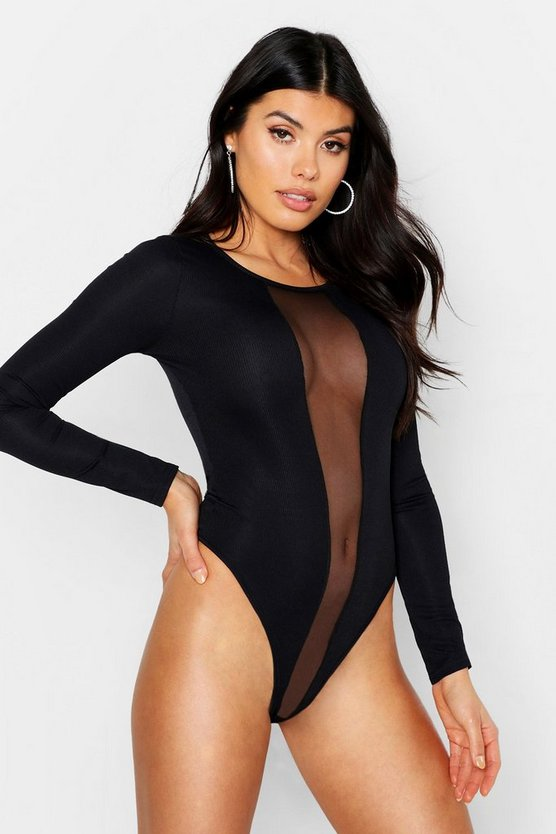Womens Black Long Sleeve Rib Mesh Panel Bodysuit