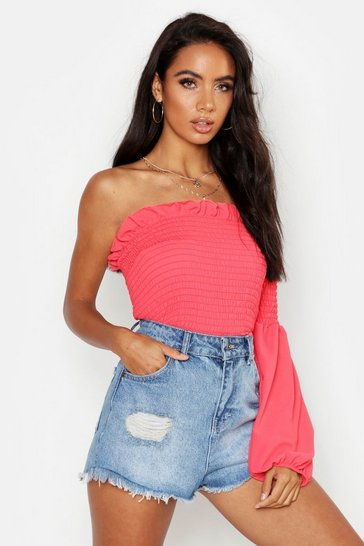 Womens Coral Woven Shirred One Shoulder Top