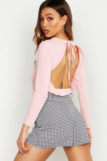 Womens Pink Woven Open Back Blouse