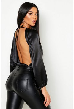 Womens Black Satin Cowl Back Bodysuit