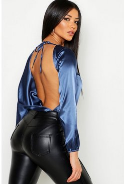 Womens Midnight Satin Cowl Back Bodysuit