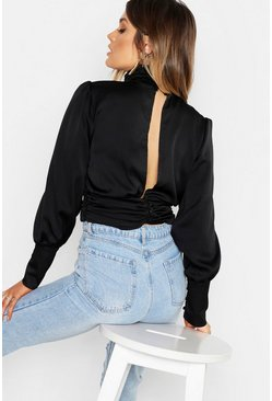 Womens Black Satin Ruched Open Back Blouse