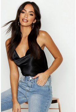 Womens Black Satin Cowl Cross Back Cami