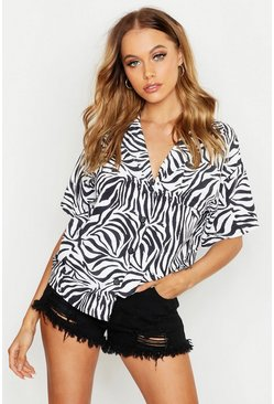 Womens Black Woven Zebra Resort Shirt