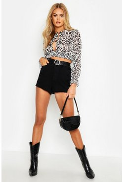 Womens White Woven Leopard print Plunge Shirred Crop