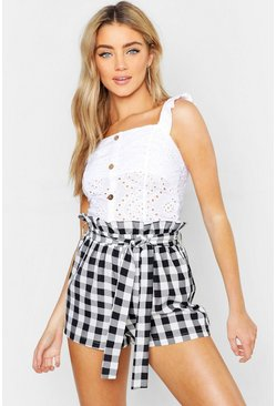 White Broderie Anglaise Button Top