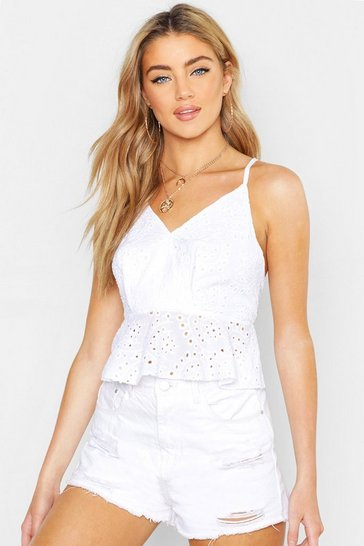 Womens White Broderie Anglaise Peplum Top
