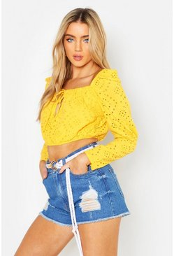 Yellow Broderie Anglaise Peasant Top