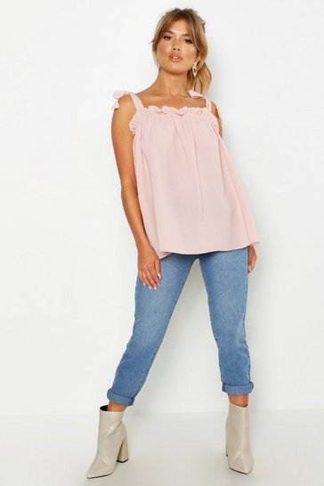 Womens Blush Woven Tie Smock Cami