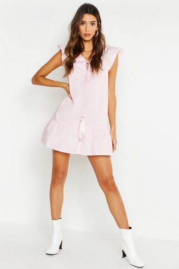 Womens Pale pink Tassel Tie Ruffle Hem Smock Dress