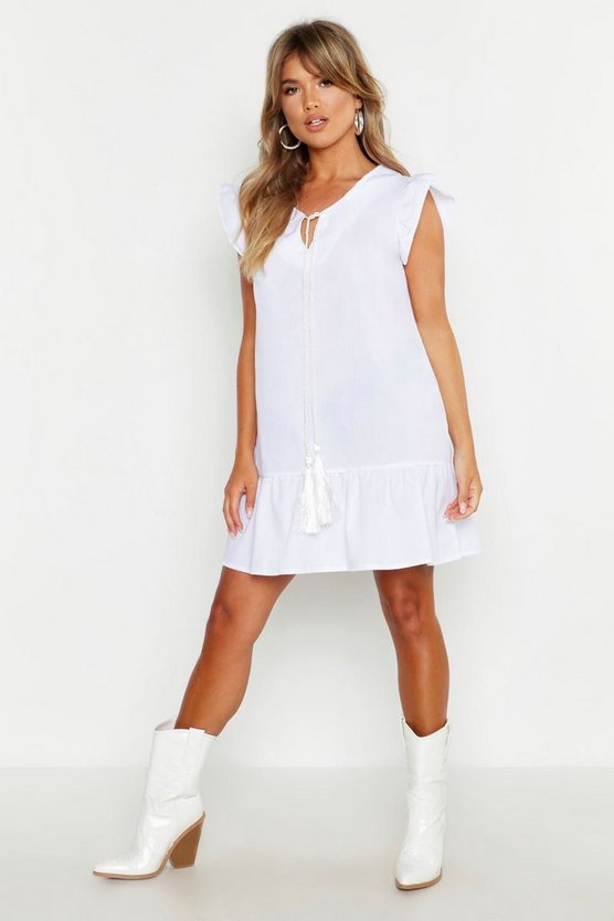 Womens White Tassel Tie Ruffle Hem Smock Dress