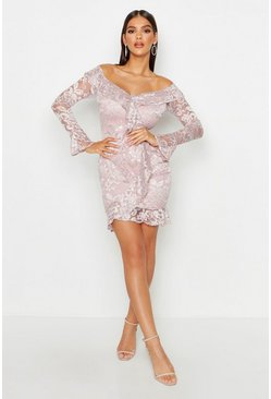 Womens Blush Off The Shoulder Lace Ruffle Dress