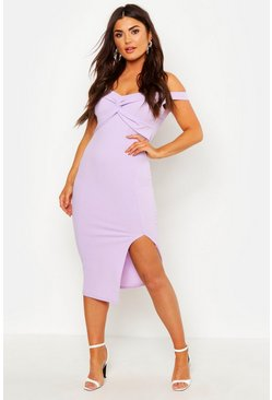 Womens Lilac Off Shoulder Twist Front Split Midi Dress