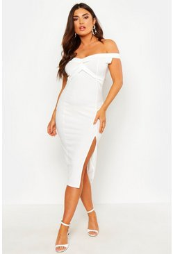 Womens White Off Shoulder Twist Front Split Midi Dress