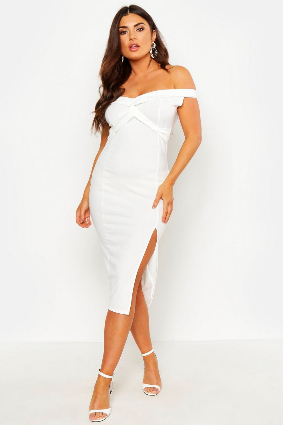 841849db5df29 Womens White Off Shoulder Twist Front Split Midi Dress