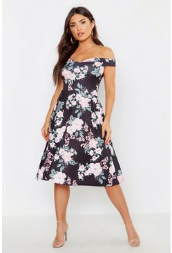 Womens Black Off The Shoulder Midi Skater Dress