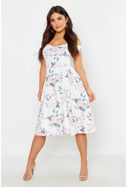 Womens White Off The Shoulder Midi Skater Dress