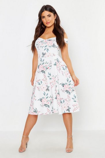 White Off The Shoulder Midi Skater Dress