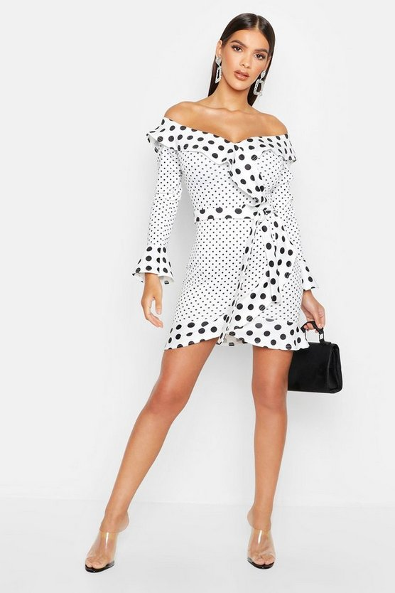 Womens White Off The Shoulder Skater Dress