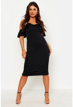 Black Strappy Frill Cold Shoulder Dress