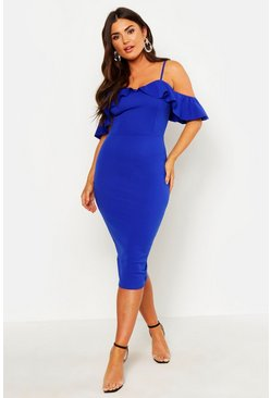 Womens Blue Strappy Frill Cold Shoulder Dress