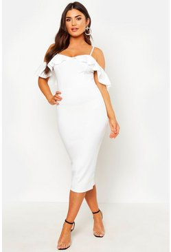 White Strappy Frill Cold Shoulder Dress