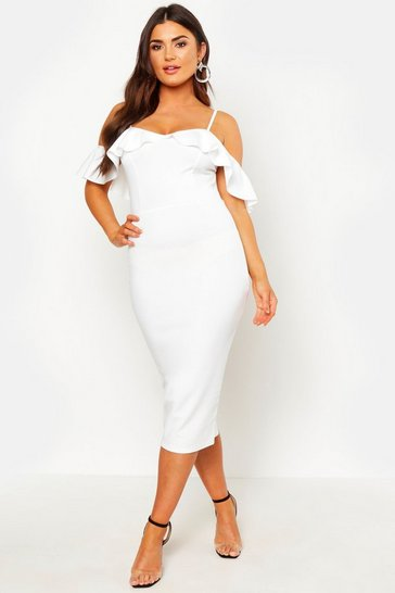 Womens White Strappy Frill Cold Shoulder Dress
