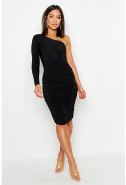 Womens Black One Shoulder Double Layer Slinky Midi Dress