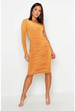 Womens Mustard One Shoulder Double Layer Slinky Midi Dress
