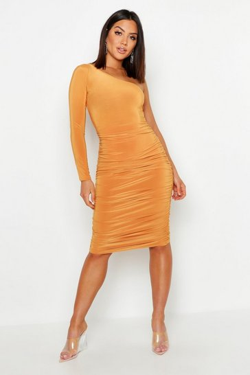 Mustard One Shoulder Double Layer Slinky Midi Dress
