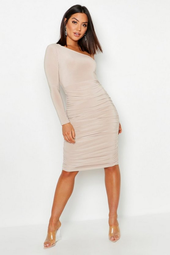 Stone One Shoulder Double Layer Slinky Midi Dress