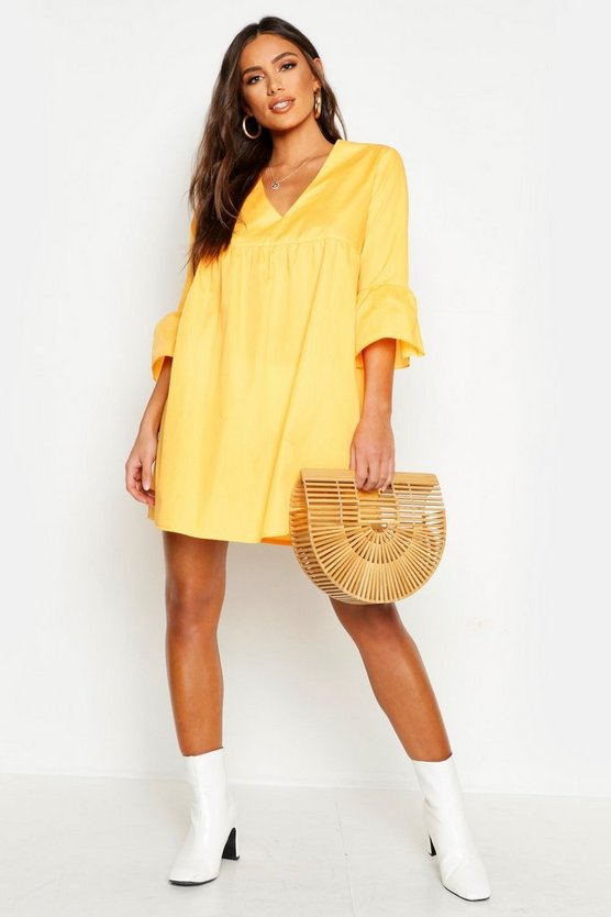 Orange V Neck Flared Sleeve Smock Dress