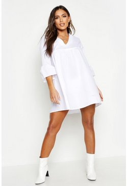 Womens White V Neck Flared Sleeve Smock Dress