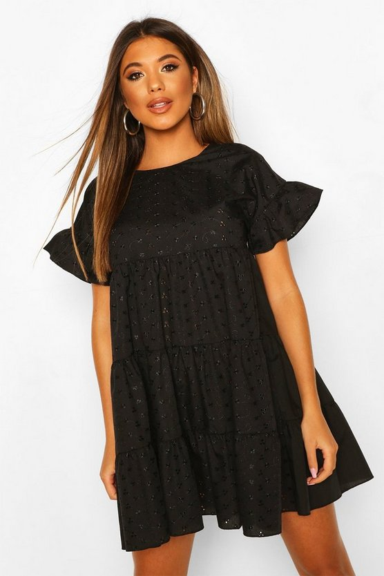 Womens Black Broderie Anglais Smock Dress