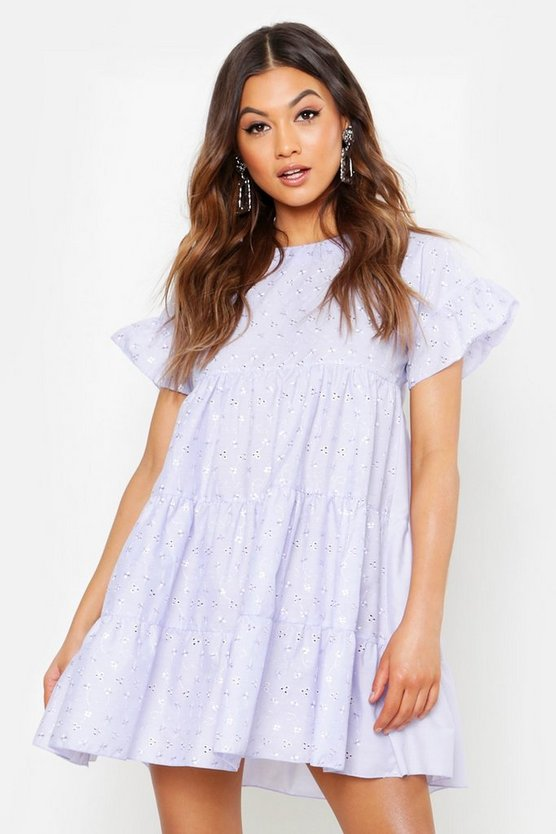 Womens Lilac Broderie Anglaise Smock Dress