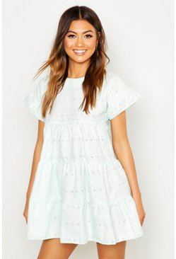 Womens Mint Broderie Anglaise Smock Dress