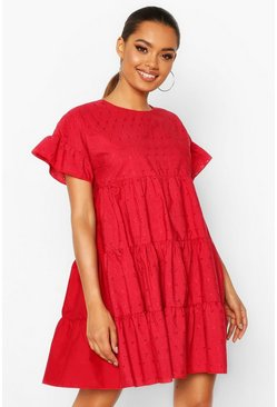 Robe à smock et broderie anglaise, Rouge