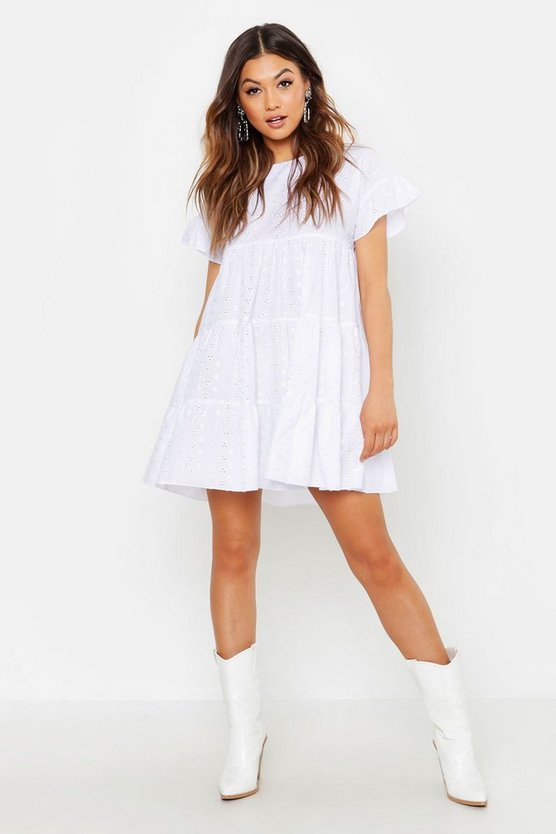 Womens White Broderie Anglais Smock Dress